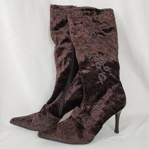 Brown velvet Roses Tall Boots